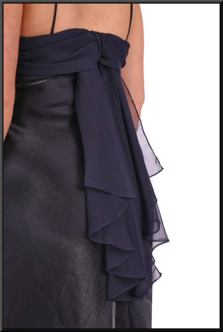 """Unusual full length cocktail dress with shimmer effect front and satin effect back - two tone navy blue, size 14. Model height 5'4"""""""
