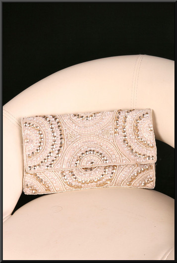 Soft satinette fabric silver-grey clutch bag with stud embellished front