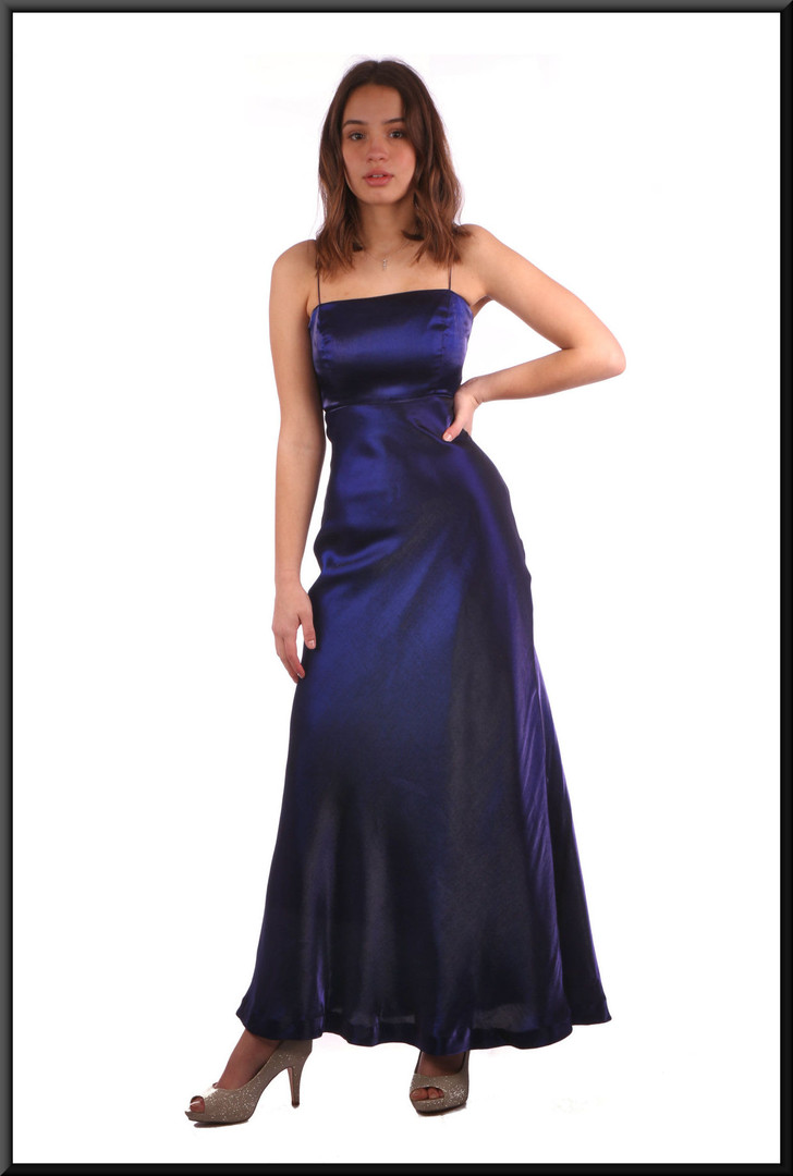 "Slimline shiny felt effect evening dress - navy blue, size 8. Model height 5'7"""