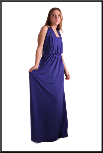 """Greek goddess style full length dress with full length rear bow and separate bodice, size 8 in royal blue. Model height 5'5"""""""