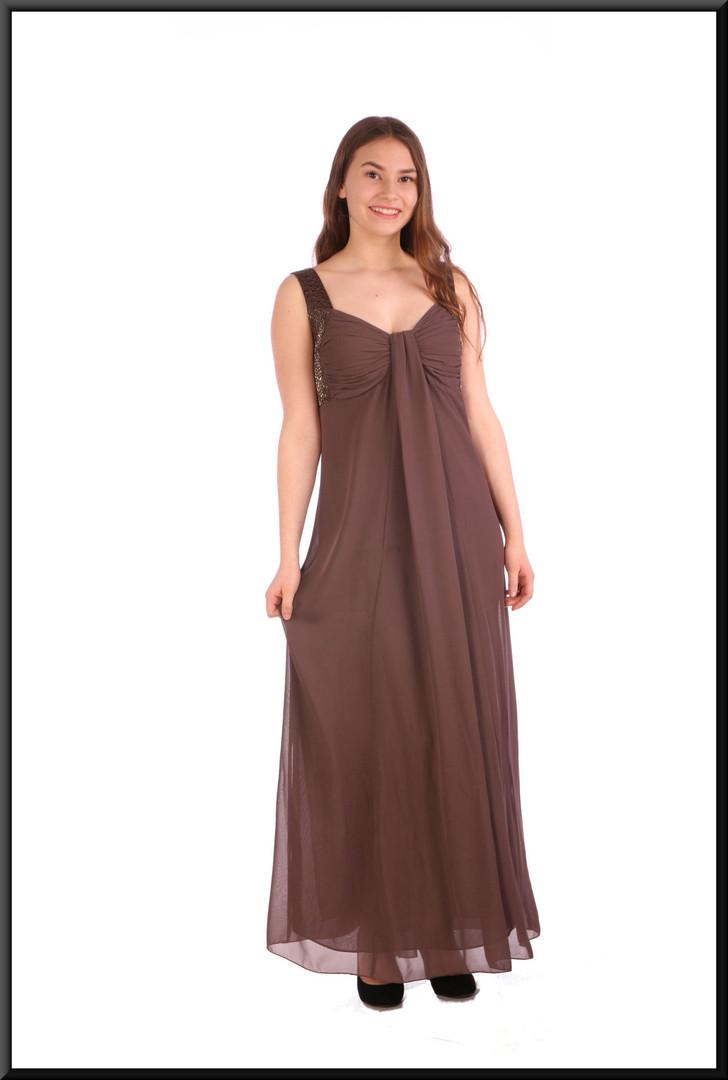 "Boho style chiffon over-skirt and felt effect polyester underskirt - brownish-grey, size 10; model height 5'5"""