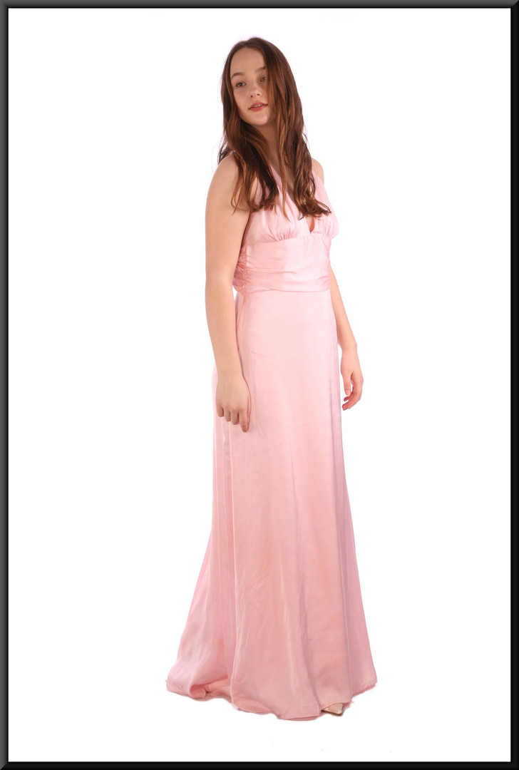 "Full length chiffon over satinette thirties-style ""Gloria Swanson"" evening dress - pink, size 10 / 12.  Model height 5'7"""
