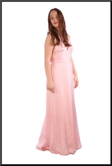 """Full length chiffon over satinette thirties-style """"Gloria Swanson"""" evening dress - pink; size 10 / 12; model height 5'7"""""""