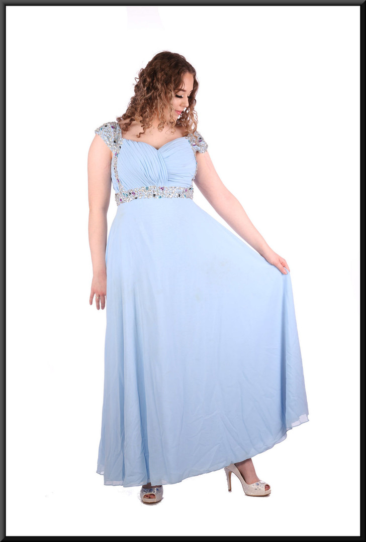 """Silk-effect full-length dress with ruched bodice and diamanté detail, size 12 / 14in light blue. Model height 5'7"""""""