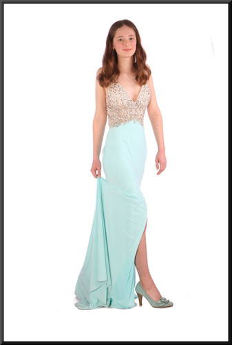 Full length backless evening dress (US 2) with train with embellished bodice & split skirt, mint blue & ivory, size 6.  Model height 5'6""