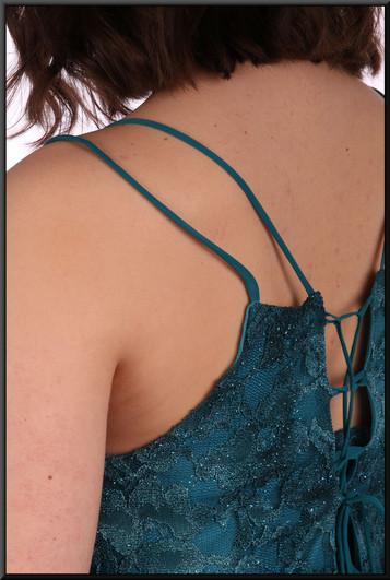"""Ankle length patterned net over polyester slimline long skirt - teal,size 10 /12. Model height 5'10"""""""