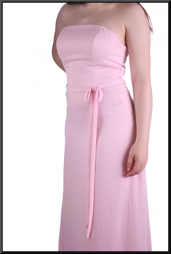 Strapless ankle length chiffon over satinette slimline evening / party / bridesmaid dress, powder pink, size 12, model height 5'7""