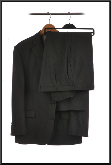 Suit with two pairs of trousers chest 44 trousers waist 40inside leg 31 and chest 40 inside leg 29 - dark grey