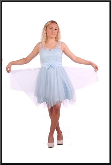 Size 4 / 6 Baby doll net over satinette mini dress and embellished bodice - pale blue