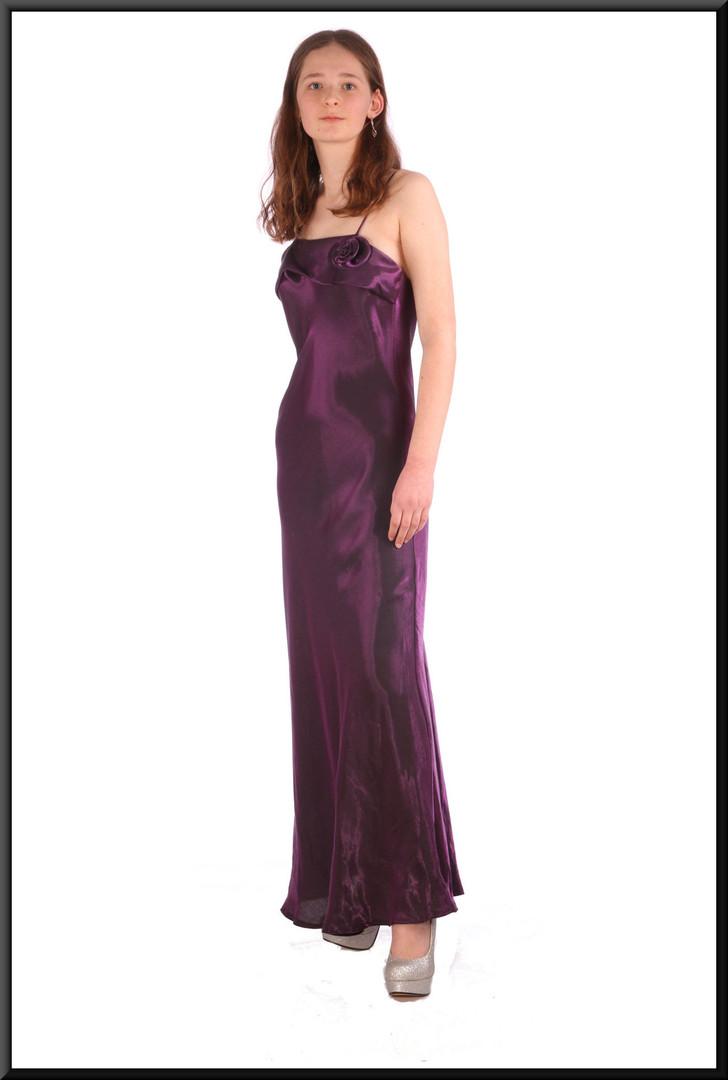 """Ankle-length slimline satinette evening dress - plum, size 8 / 10; model height 5'6"""""""