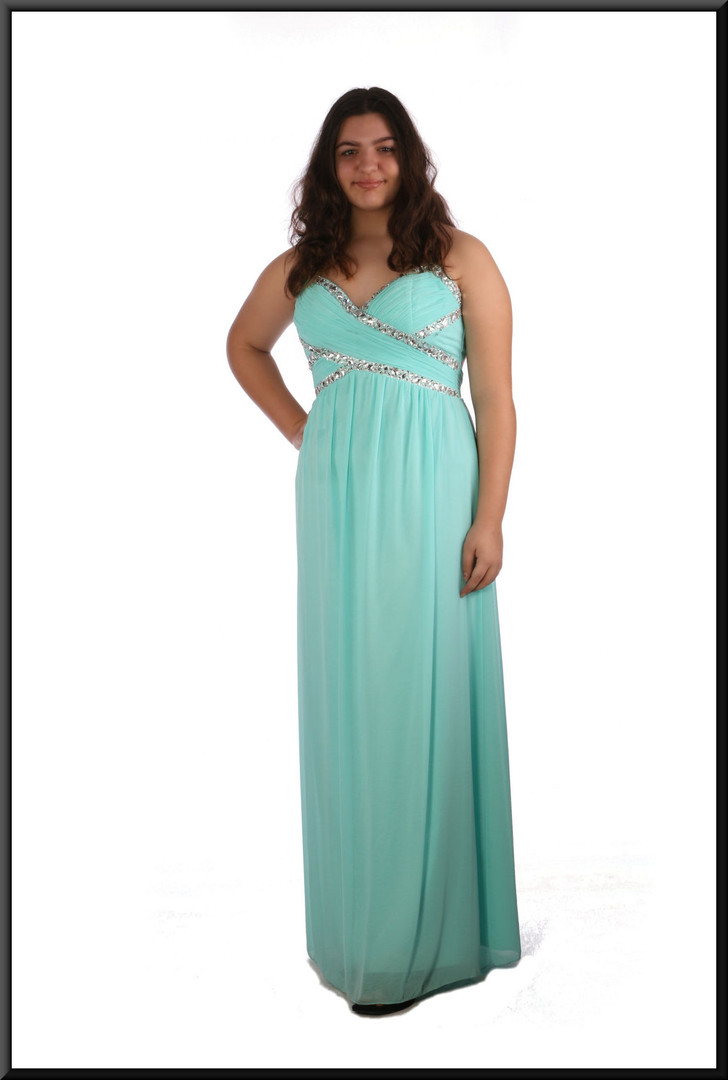 Full length chiffon over satinette evening dress with gem and sequin bodice - pale blue, size 16; model height 5'8""