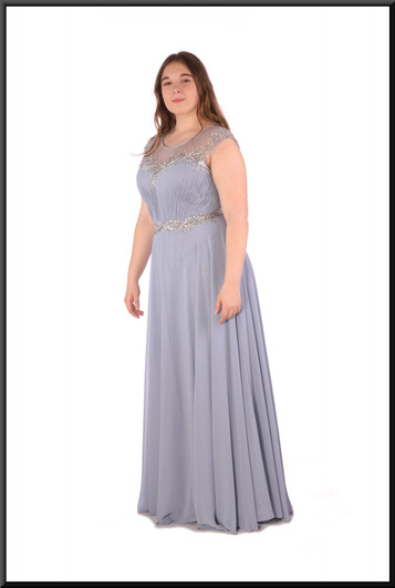 """Full length chiffon over satinette evening dress with bejewelled bodice - pale blue, size 14. Model height 5'7"""""""
