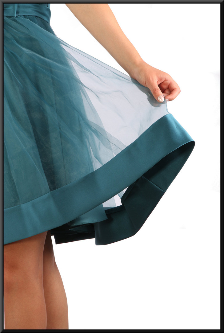 Cocktail / party mini-dress satinette, and net over-skirt and darker hem band, emerald / teal, size 10, model height 5'10""