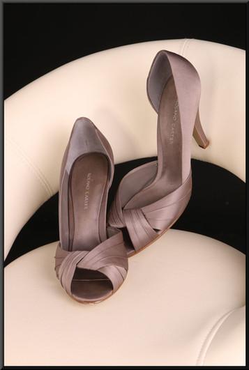 Ladies dark dove grey slip on satin effect shoes (EU 39) size 6