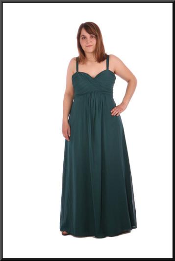 """Full length evening dress chiffon over satinette - bottle green, size14 / 16; model height 5'4"""""""