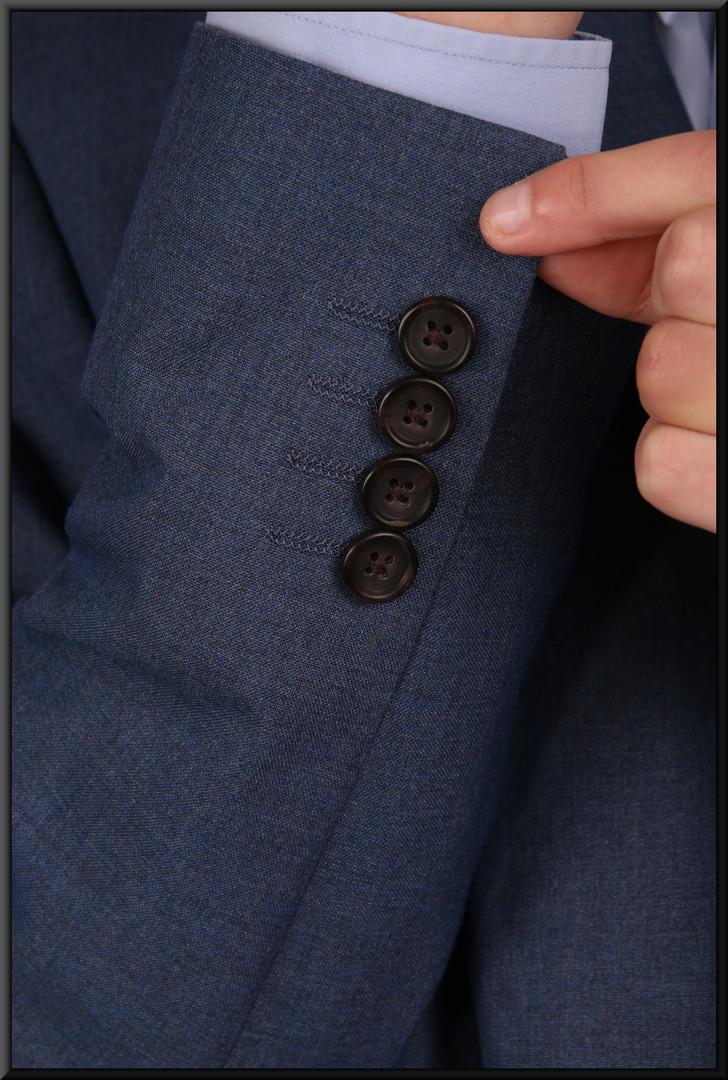 "Mid blue lounge suit chest EU size 42 skinny fit waist 28 inside leg 31. Model height 6'0"""