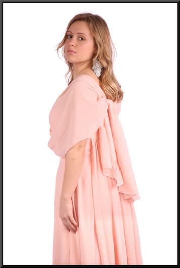 "Calf length cocktail dress chiffon over satinette full skirt - pink, size 8 / 10; model height 5'3"""