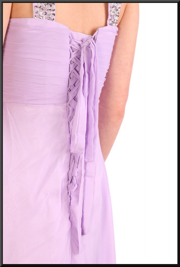 Full length full chiffon over satinette evening dress with boned bodice - lilac, size 8 / 10.  Model height 5'6""