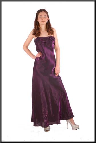 """Ankle-length slimline satinette evening dress - plum, size 8; model height 5'6"""""""