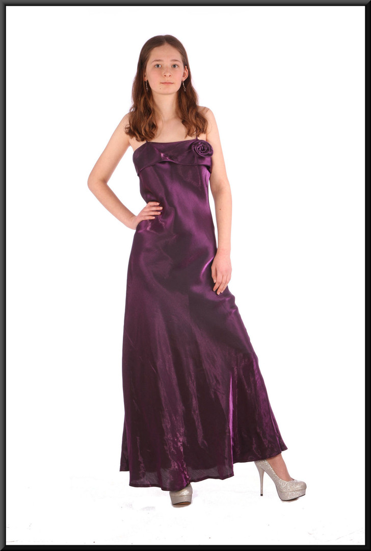 Ankle-length slimline satinette evening dress - plum, size 8; model height 5'6""