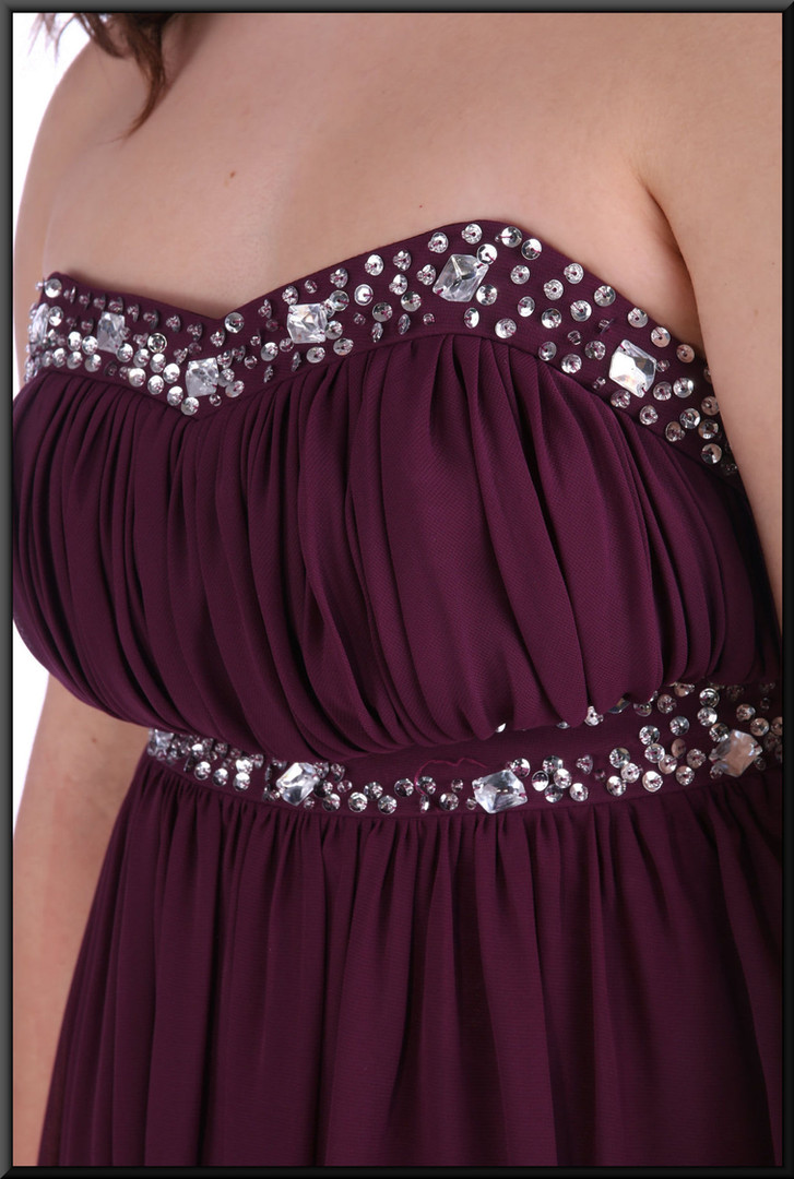 """Full length chiffon over satinette strapless evening dress with embellished bodice - plum, size 16; model height 5'8"""""""