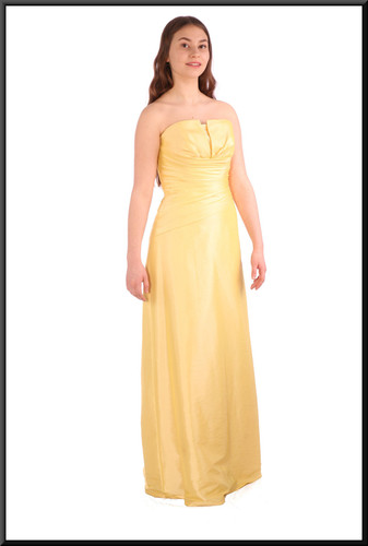 Full length strapless evening dress with corset tie - lemon yellow, size 10 / 12; model height 5'5""