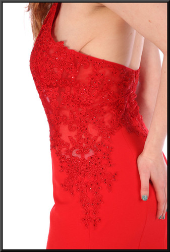 """Full length slim-fit evening dress with discretely embroidered nude bodice panels - red, size 10; model height 5'6"""""""