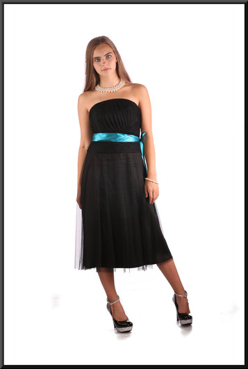 """Net over polyester strapless mini cocktail dress, black with teal belt, size 10, model height 5'2"""""""
