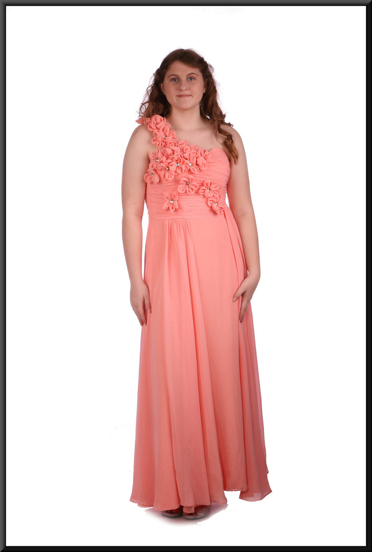 Ankle length chiffon evening / bridesmaid dress with bejewelled strap - pink, size 10 / 12.  Model height 5'7""