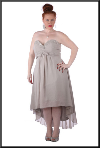 Medium length ruched boob effect diamanté trim calf length with train / corset tie - grey