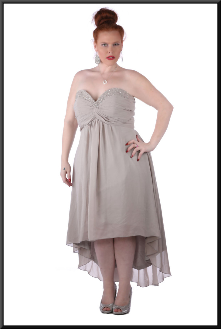 Medium length strapless dress, ruched boob effect diamanté trim calf length with train / corset tie, size 20 in grey.  Model height 5'7""