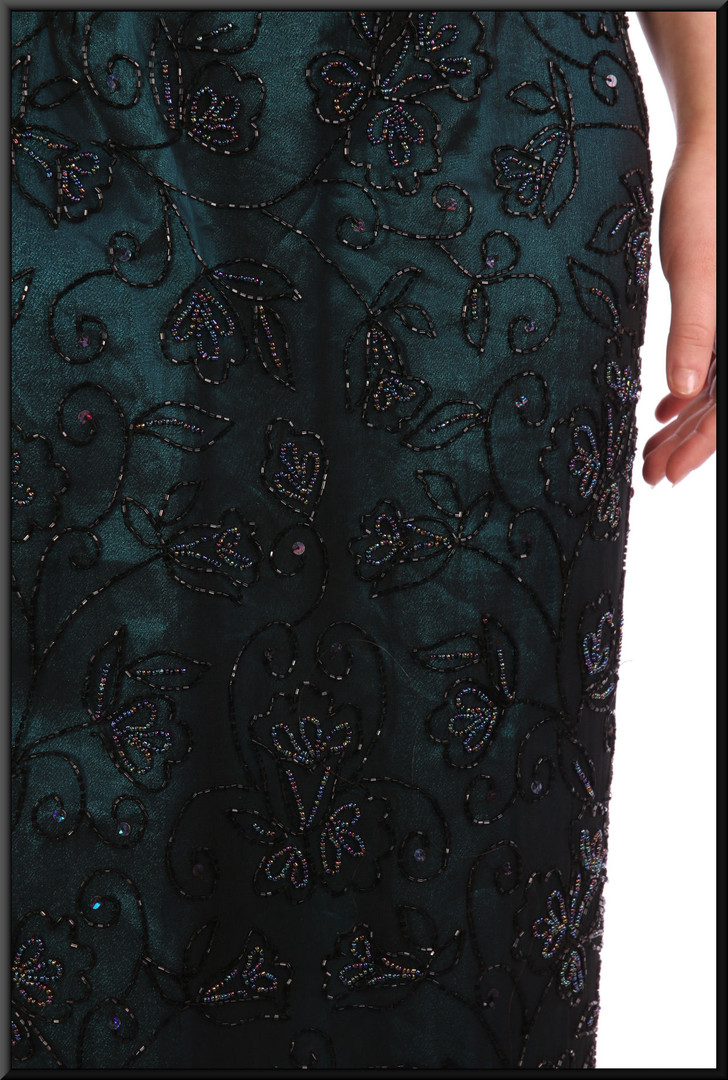 """Classic full length sequinned evening dress with teal coloured lining and iridescent beads - black, size. Model height 5'5"""""""