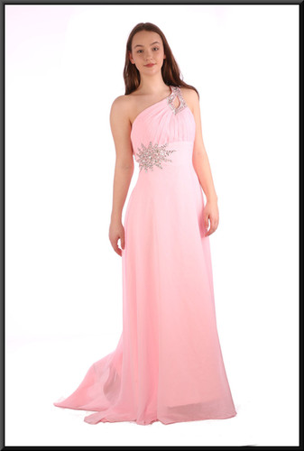 Full length chiffon evening dress with train, corset tie and satinette mini underskirt - pink, size 12 / 14; model height 5'7""