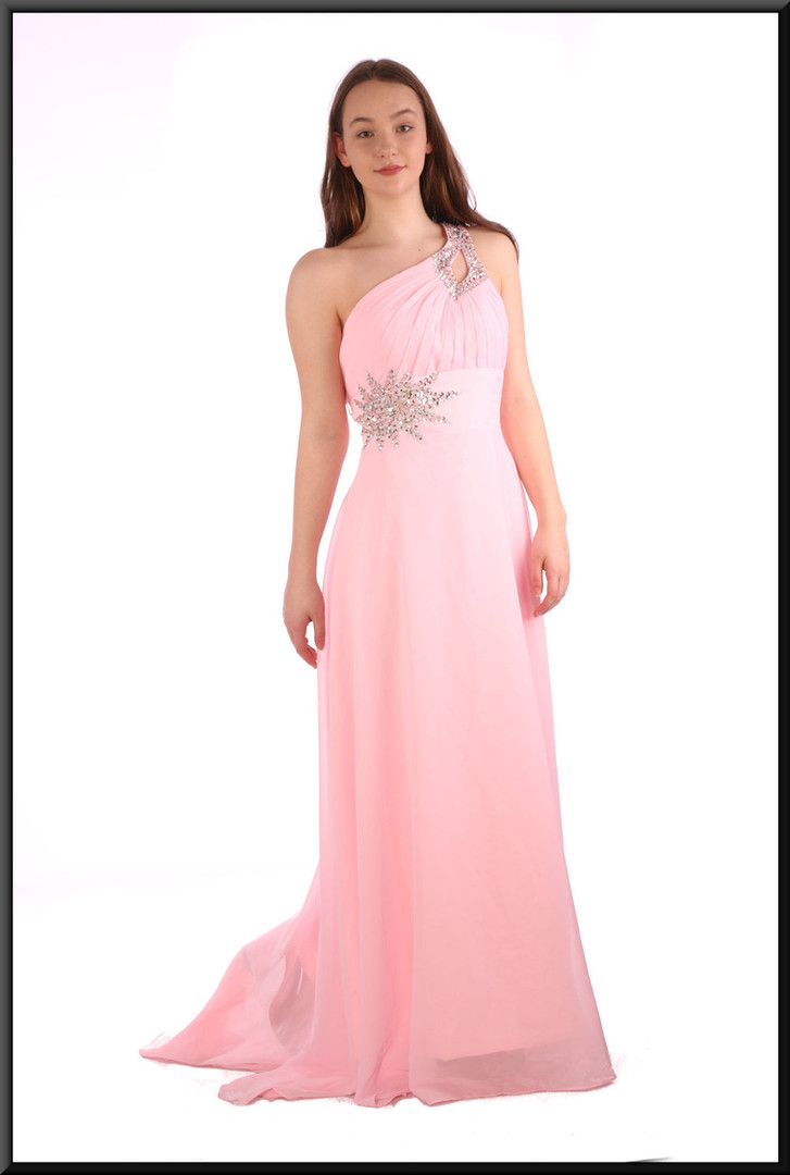 """Full length chiffon evening dress with train, corset tie and satinette mini underskirt - pink, size 12 / 14; model height 5'7"""""""