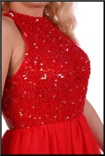 """Double layer voile dress with very long skirt and embellished sequinned bodice, size 4in red Model height 5'2"""""""