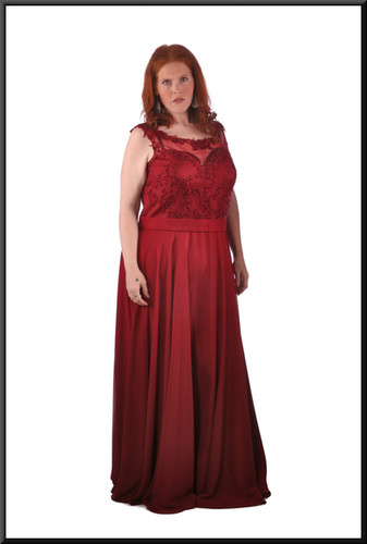 Size 24 Full length classic evening dress / ball gown with diamanté embellished bodice - burgundy