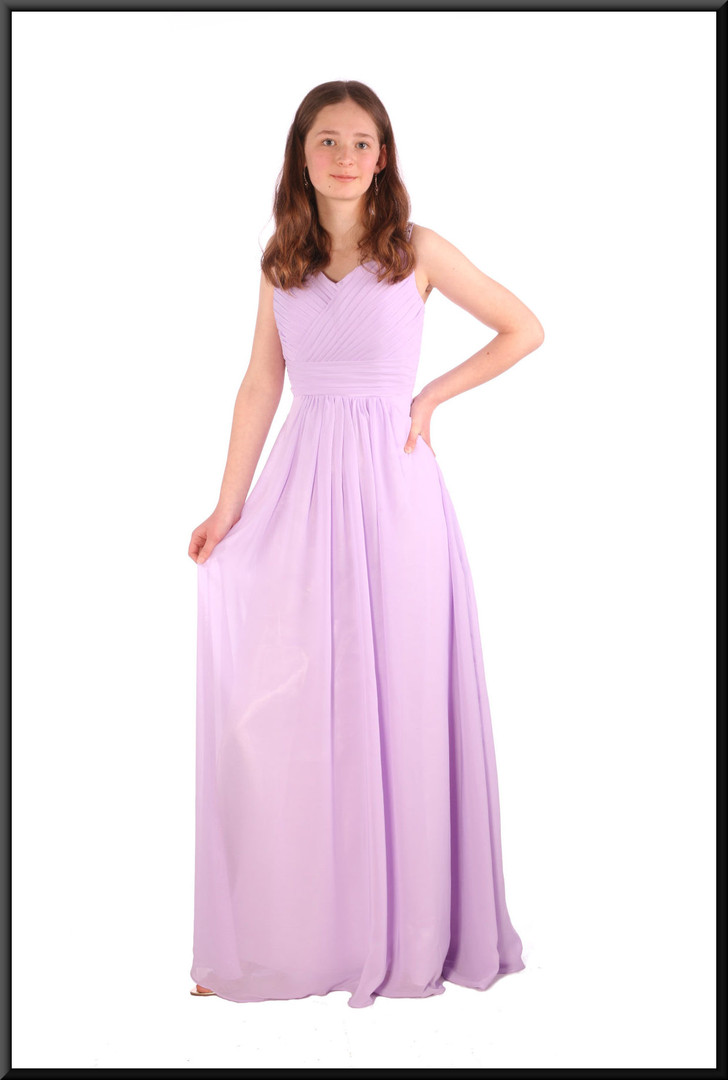 Full length full chiffon over satinette evening dress with boned bodice - lilac, size 8 / 10, model height 5'6""