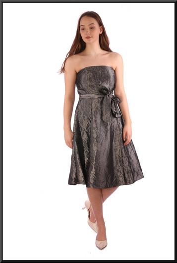 """Brushed velvet/satin effect strapless knee length dress, silver grey - size 12; model height 5'7"""""""