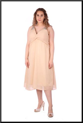 """Calf length cocktail dress voile over satinette full skirt, size14in ivory. Model height 5'7"""""""