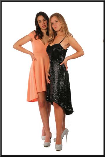 "Variable length cocktail dress black with sequins, black, size 10, model heights - blonde 5'5"", brunette 5'7"". (Lobster pink dress is cat. no. 268)"