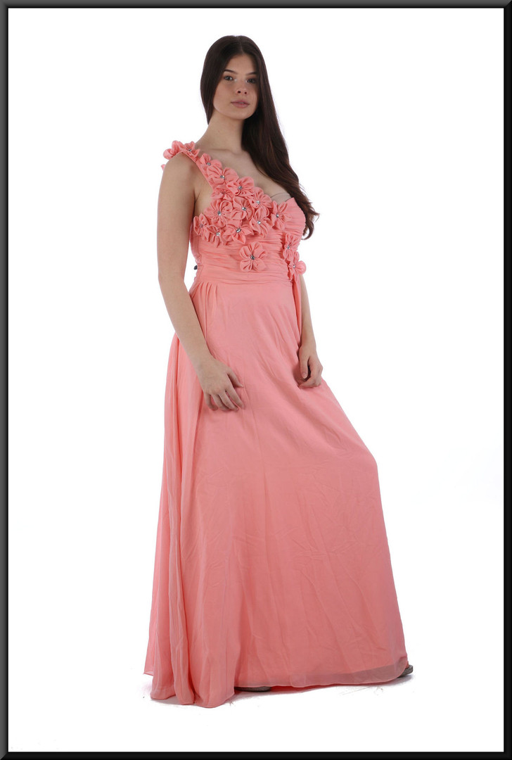 """Single strap full length dress with full net skirt and embellished bodice and strap, size 8 in salmon pink Model height 5'10"""""""