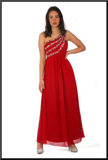 """Chiffon over satinette evening dress, red with silver embellishment, size 10, model height 5'7"""""""