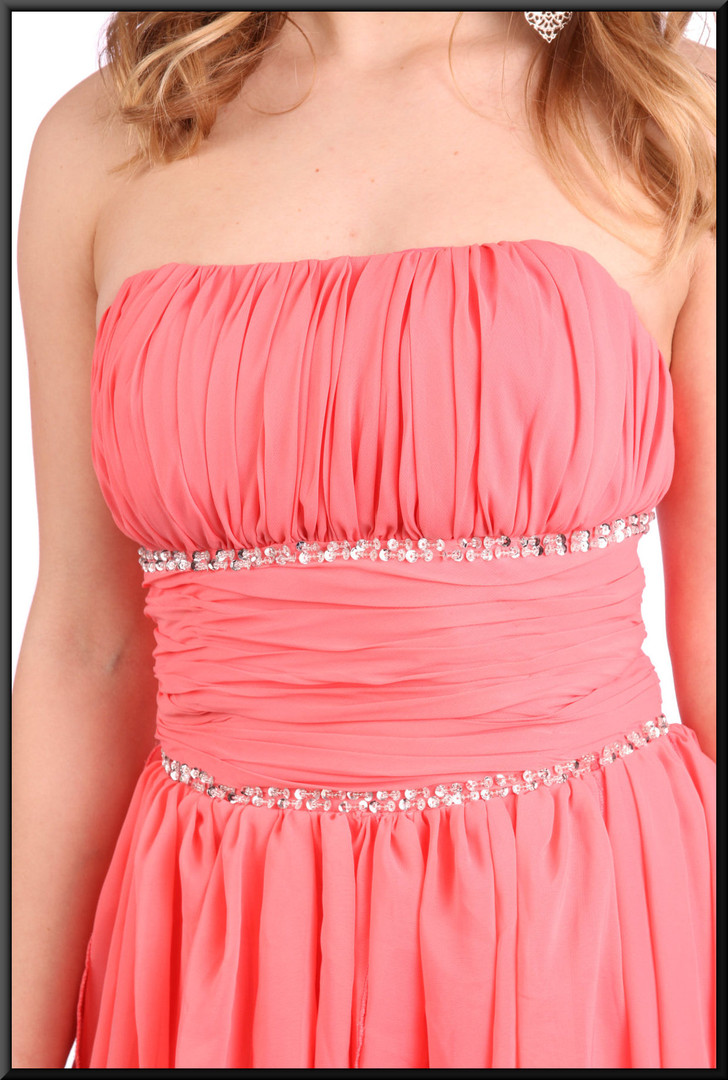 """Variable length multi-layer Tinkerbellcocktail dress with corset tie - pink, size 8. Model height 5'3"""""""
