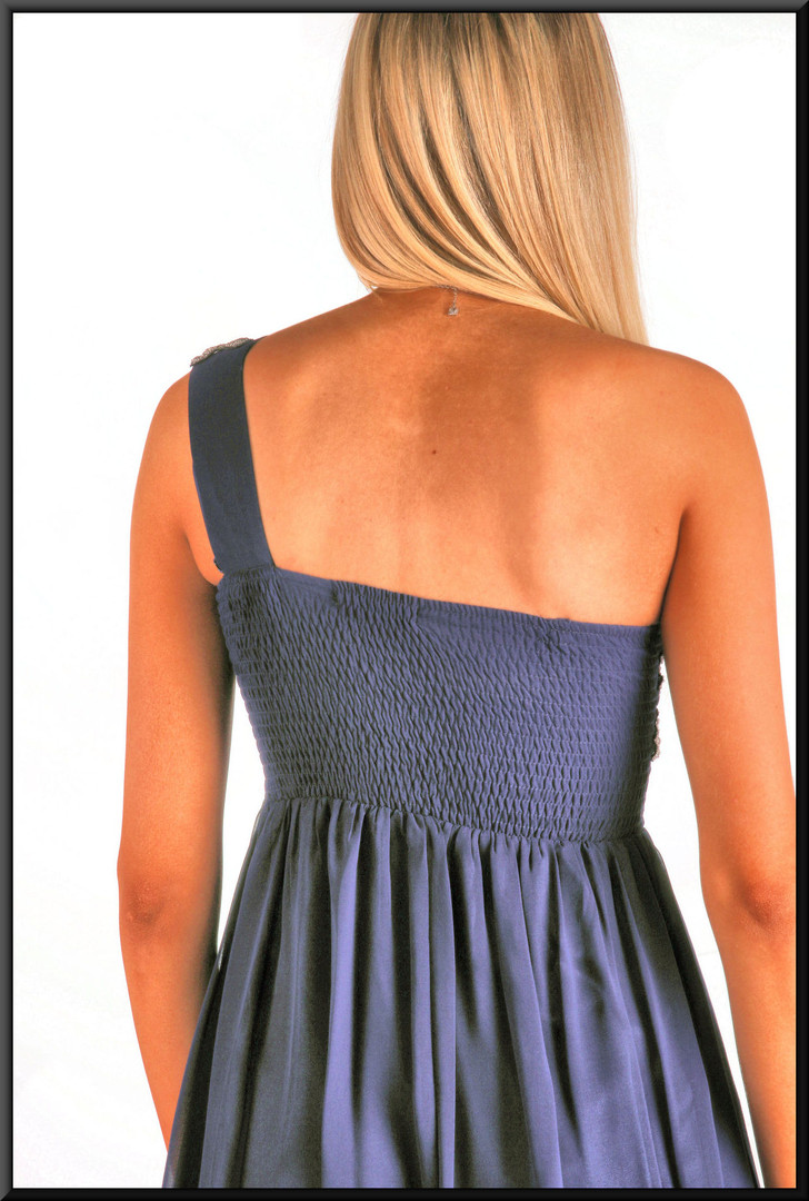 Single strap mini dress, size 8 in royal blue.  Model height 5'11""