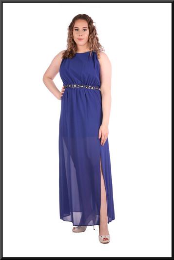 "Greek goddess style ankle length voile over satinette mini dress 100% polyester, size 12in royal blue. Model height 5'7"""