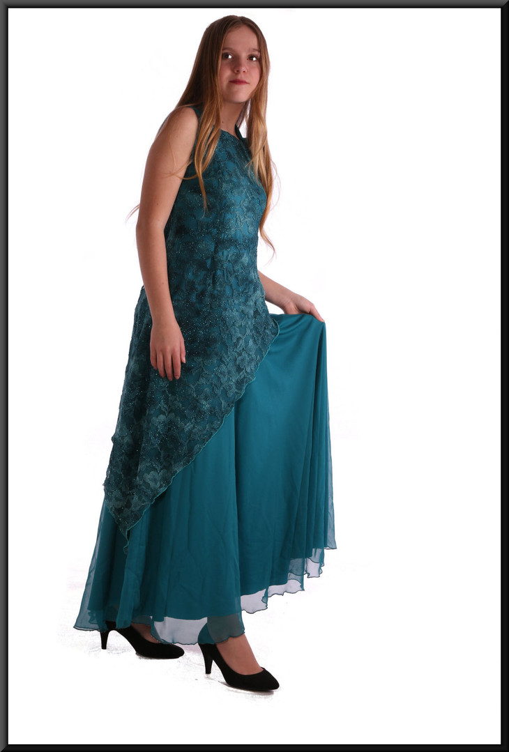 Full-length Edwardian style evening dress with patterned net overlay, size 8 in turquoise.  Model height 5'5""