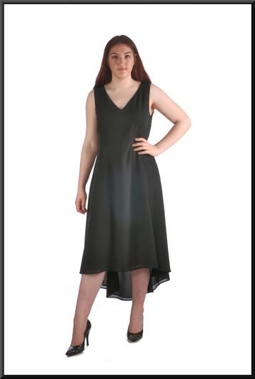 "Mid calf variable-length hemline cocktail dress, black, size 16, model height 5'7"""