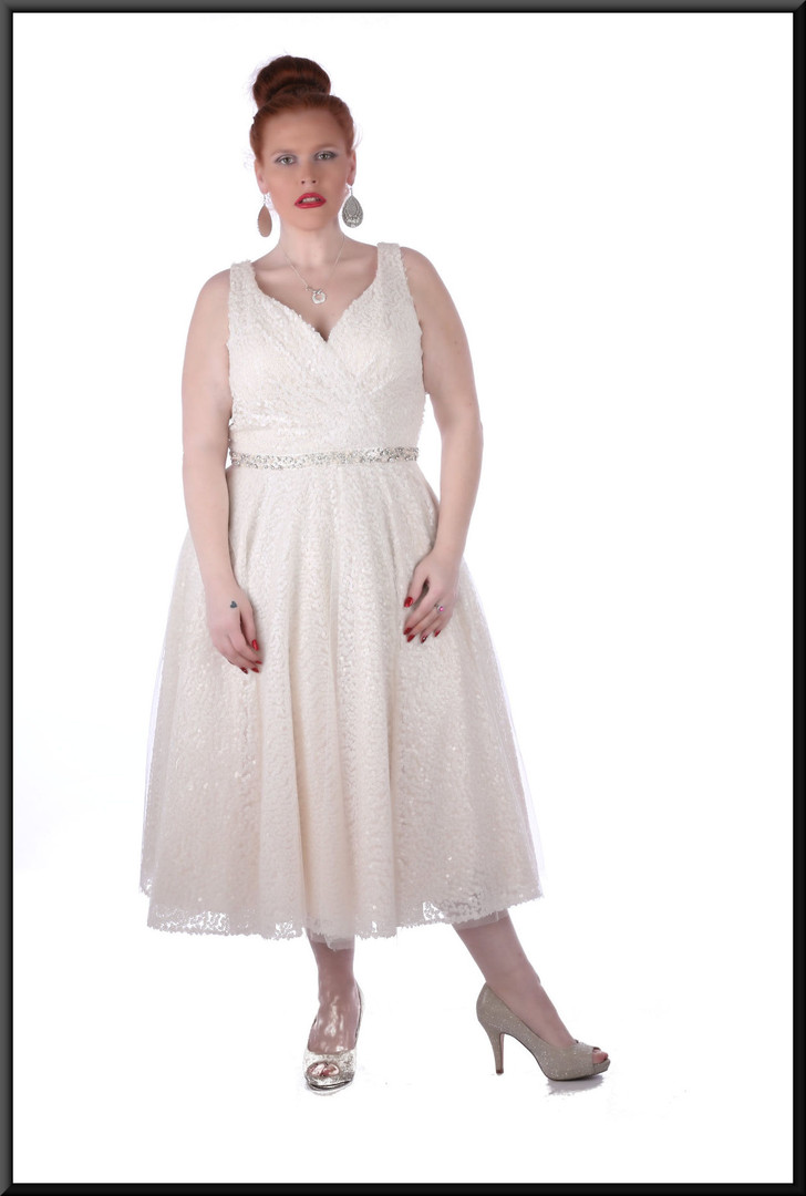 Full strap calf length, diamanté belt, button-over, bridesmaid dress - ivory and silver with a h