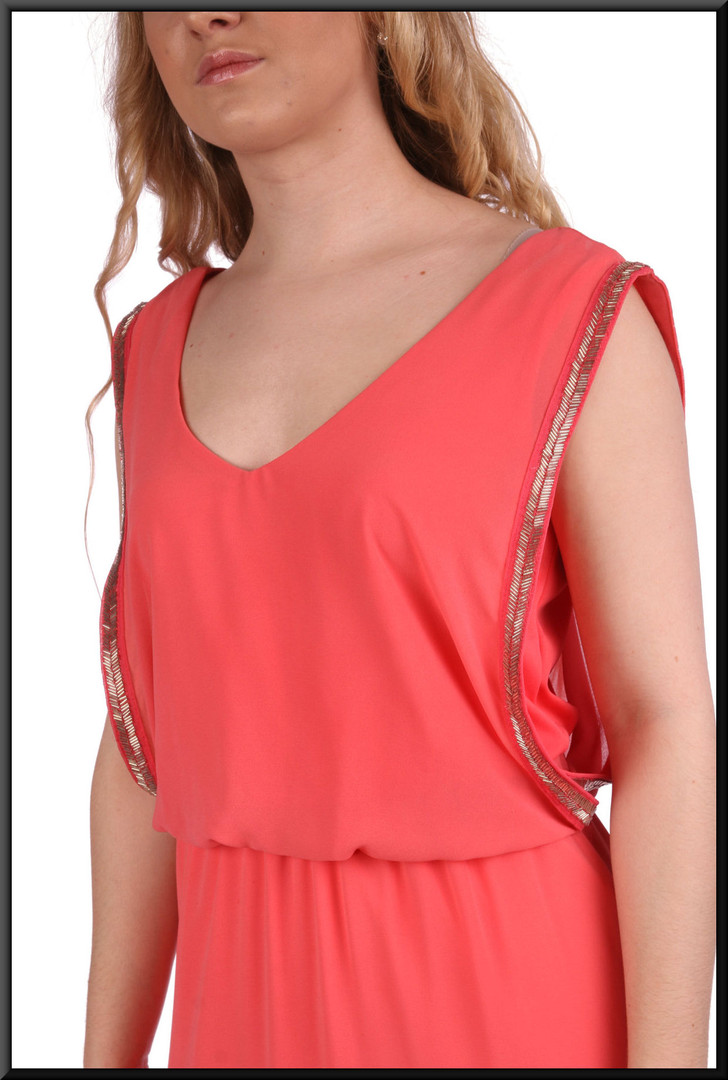 """Greek style slimline double layer evening dress with double layer bodice - salmon pink, size 6. Model height 5'3"""""""