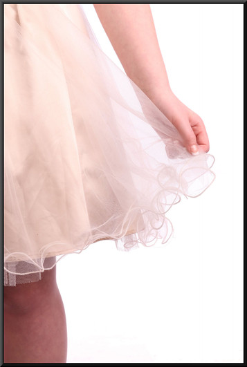 """Multi-layered net over satin strapless mini fairy dress - gold and silver.  Model height 5'4"""""""
